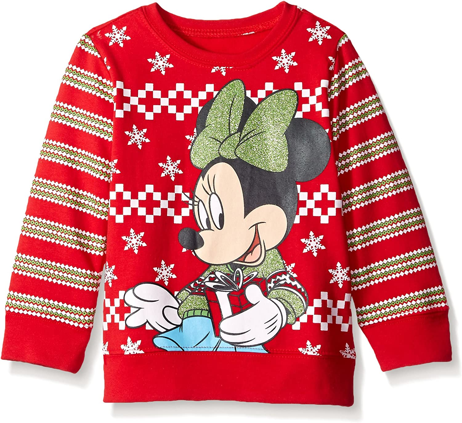 Disney Girls' Minnie Mouse With Gift Nordic Crew Neck Sweater