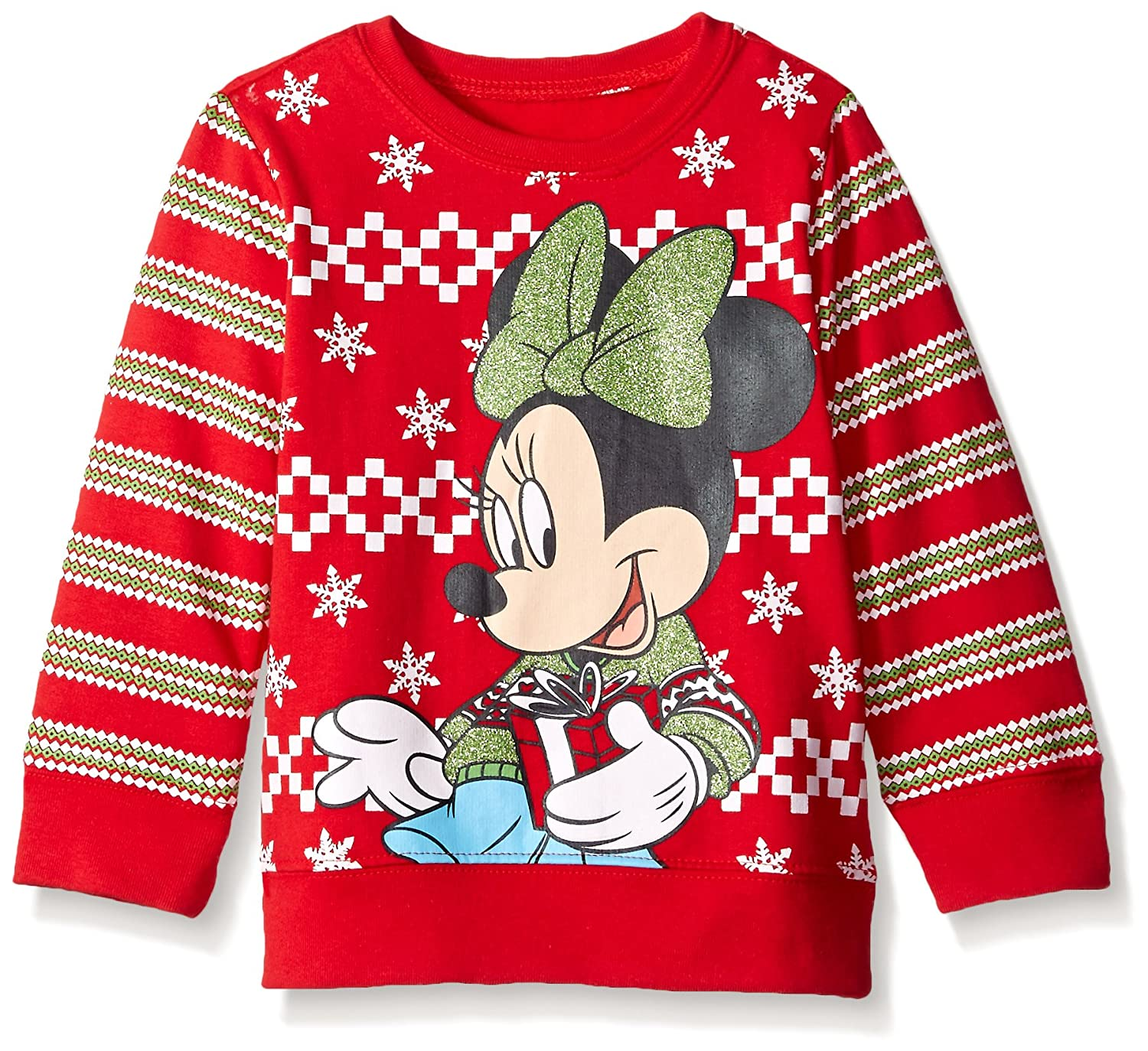 Disney Girls' Minnie Mouse With Gift Nordic Crew Neck Sweater Red 4T Freeze Children' s Apparel ZCST503-6T18