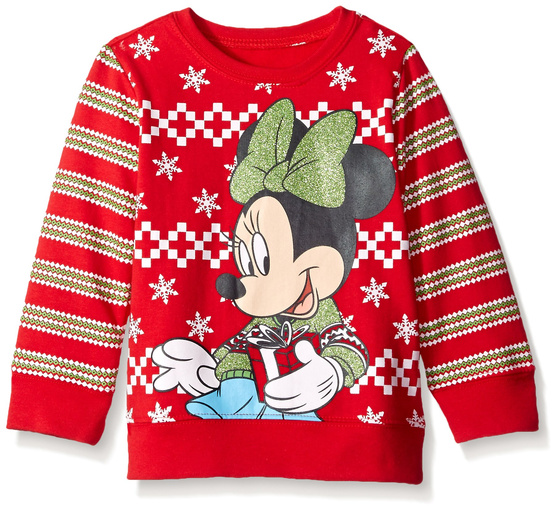 Disney Little Girls' Minnie Mouse with Gift Toddler Nordic Crew Neck Sweater, Red, 4T