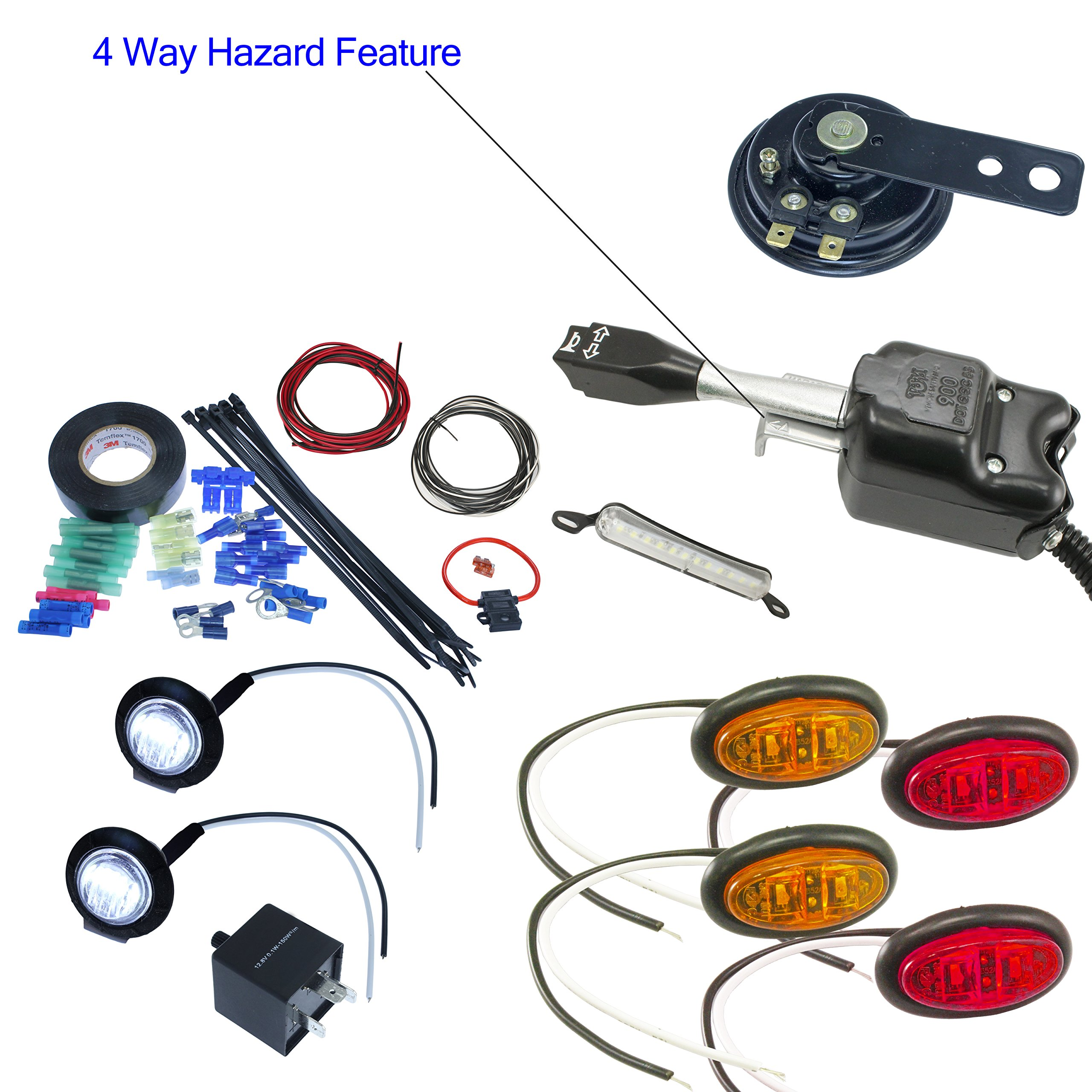 UTV Heavy Duty Lever Turn Signal Kit with Horn and Hardware Kit (Oval: 2 Amber, 2 Red)