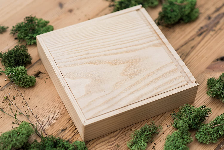 Caja de madera (sin USB), Print & USB Flash Drive Box, caja de fotos personalizada con memoria flash, regalo de boda, caja de prueba para fotografía (Light ...