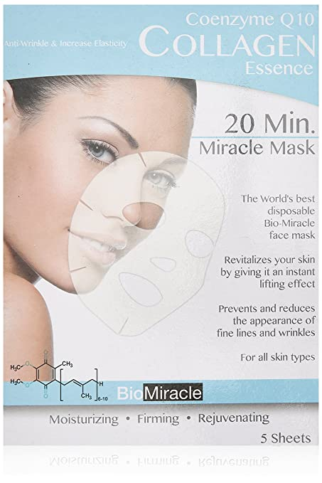 Bio-Miracle Anti-Aging and Moisturizing Face Mask, Collagen, 5 Count