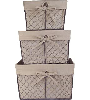 DII Home Traditions Vintage Metal Chicken Wire Storage Basket With  Removable Fabric Liner, Set Of