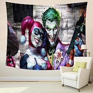 MEWE Joker Tapestry Joker and Harley Quinn Tapestry Wall Hanging for Bedroom 50x60in