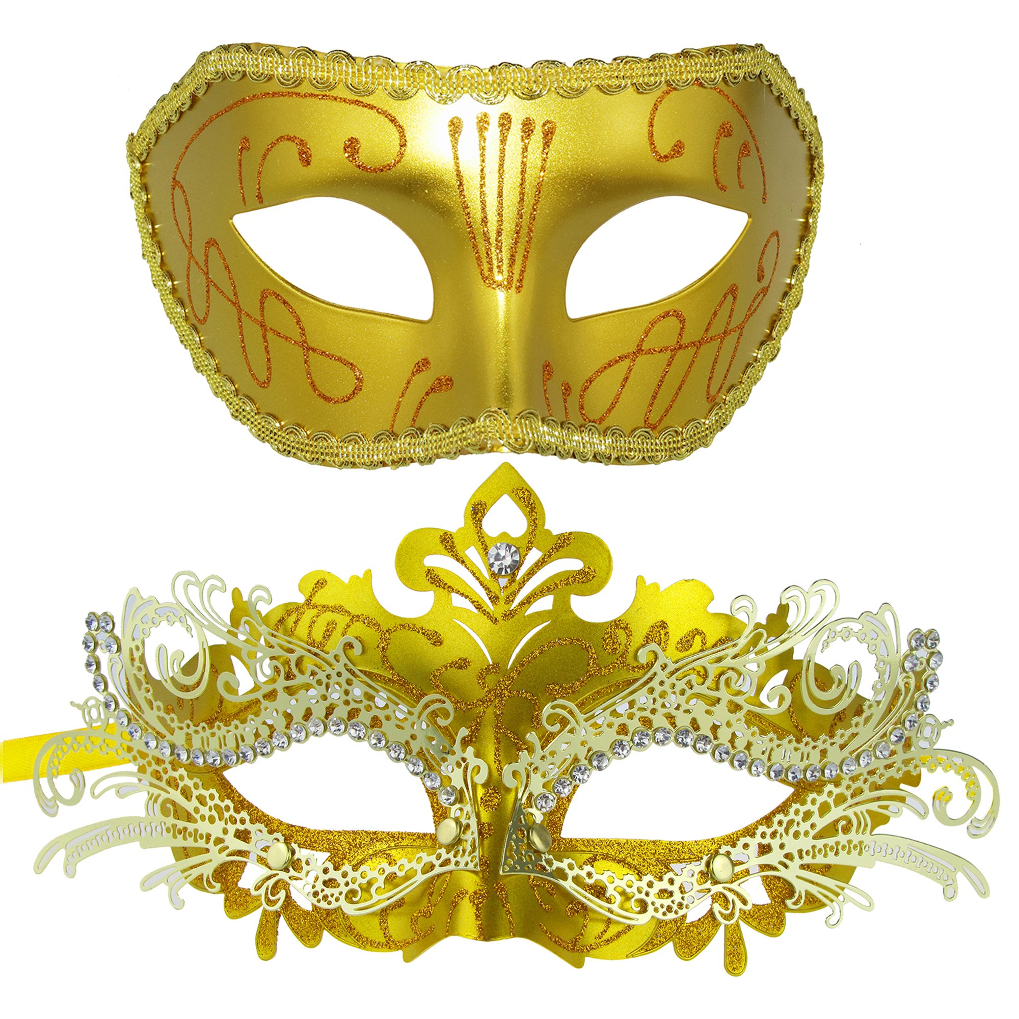 Coddsmz Venetian Pretty Party Evening Prom Mask Masquerade Mask Metal Rhinestone (Gold+Gold)