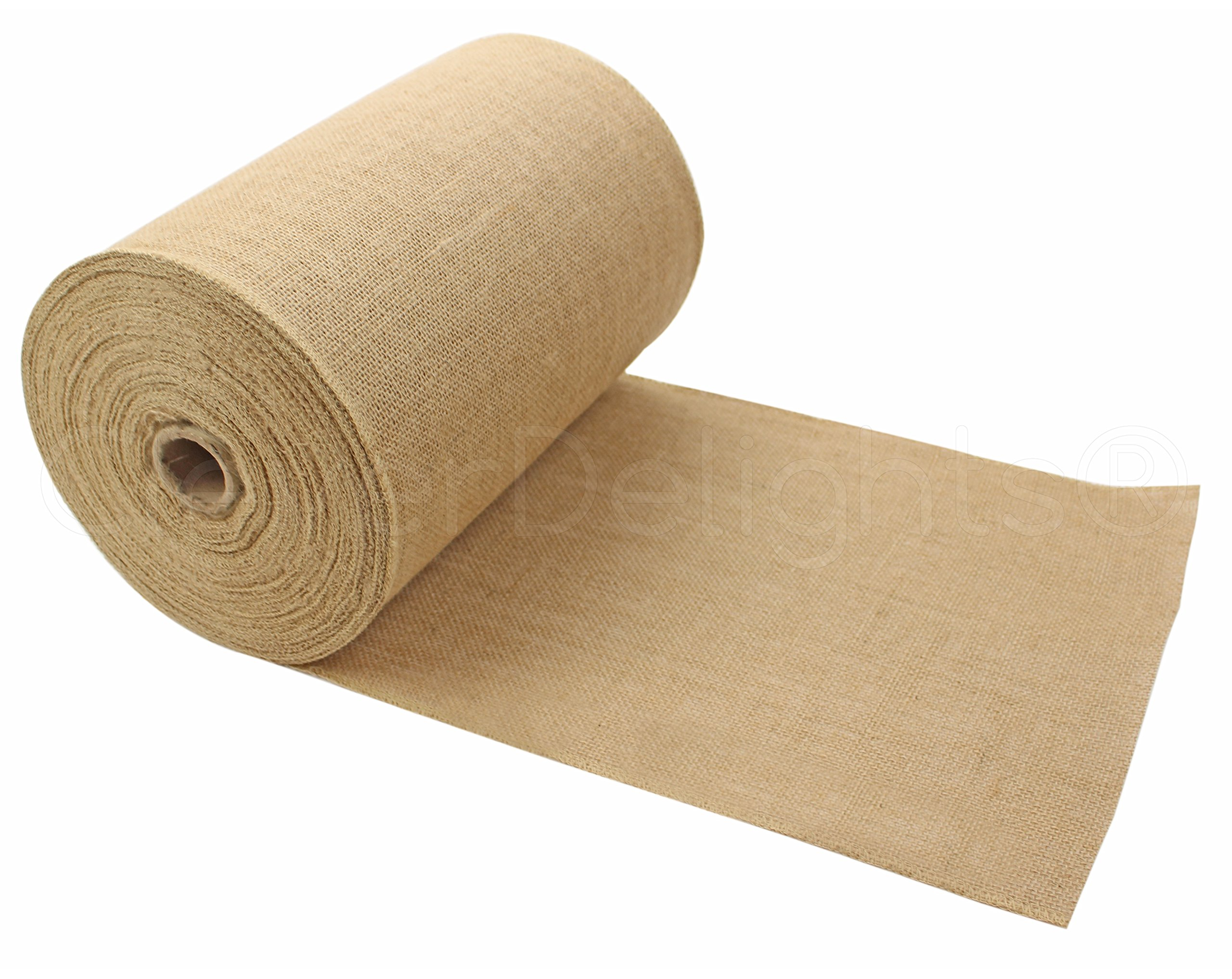 CleverDelights 12'' Premium Burlap Roll - 50 Yards - No-Fray Finished Edges - Natural Jute Burlap Fabric