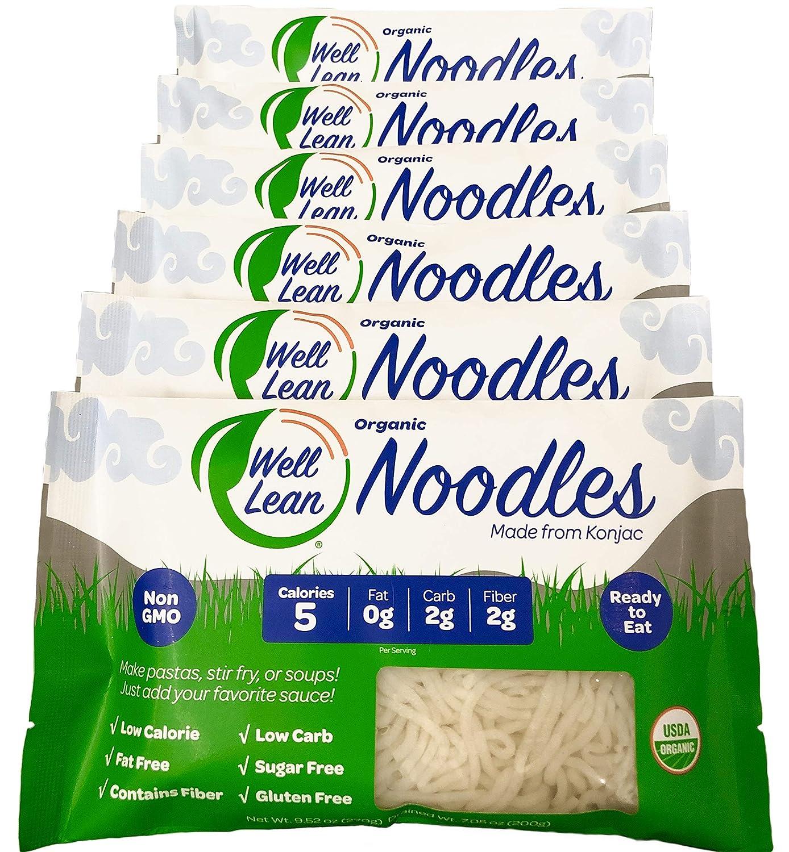 Organic Well Lean Noodles, 6 Pack, 9.52 oz, Premium Shirataki Konjac Pasta, Odor Free, Keto Friendly, Non Gmo, Ready to Eat, Low Calorie, Low Carb, Gluten Free, Soy Free, Vegan, Diet Food
