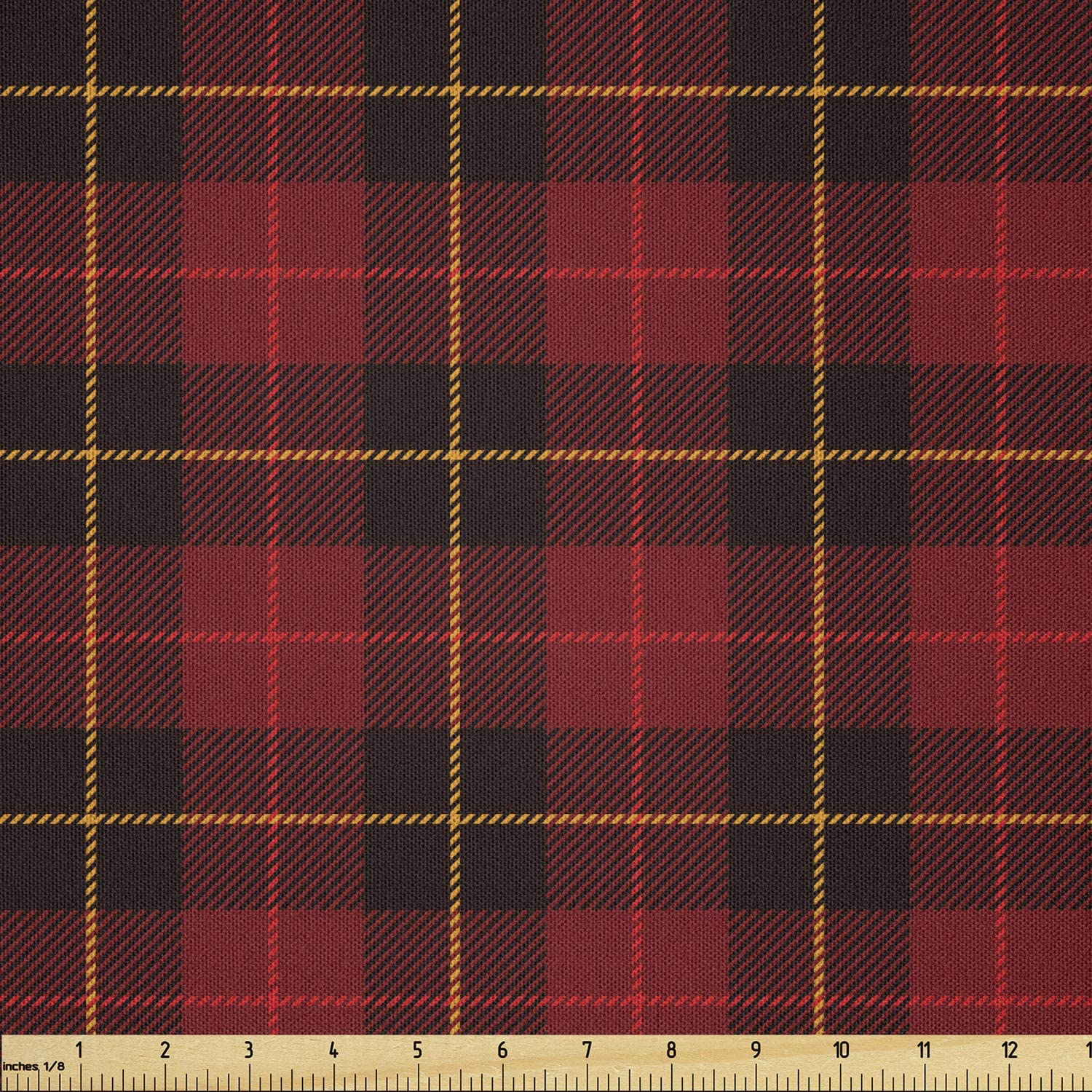 Lunarable Plaid Fabric by The Yard, Scottish Tartan with Traditional Colors Vintage Country Style, Microfiber Fabric for Arts and Crafts Textiles & Decor, 1 Yard, Brown Mustard