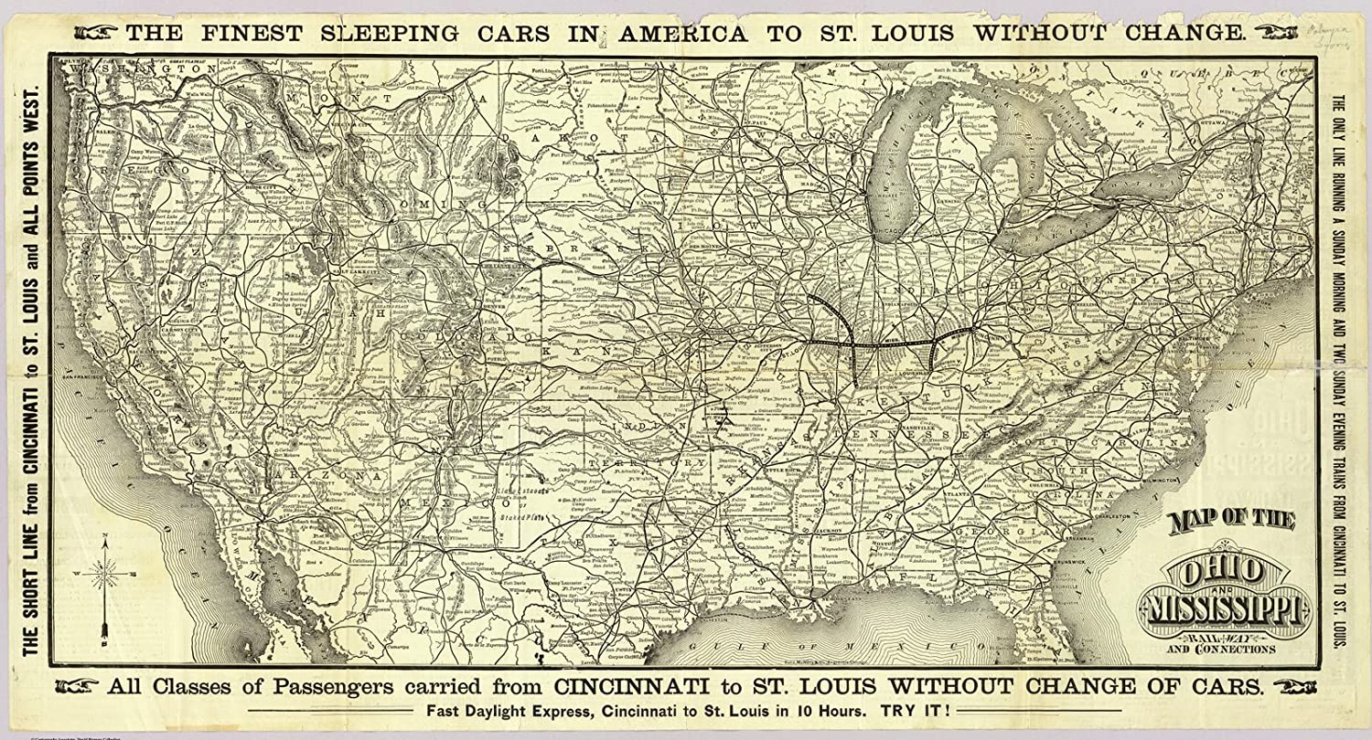 Historic Map | Map Ohio & Mississippi Railway, 1883 | Historical Antique Vintage Decor Poster Wall Art | 24in x 13in