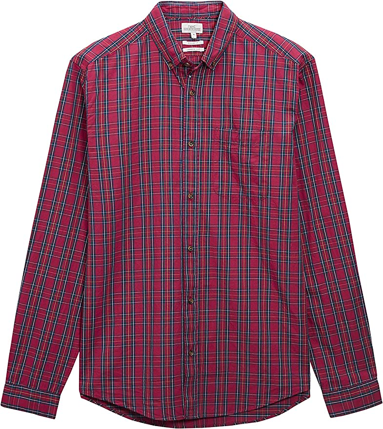 next Hombre Camisa De Algodón A Cuadros Escoceses Manga Larga ...