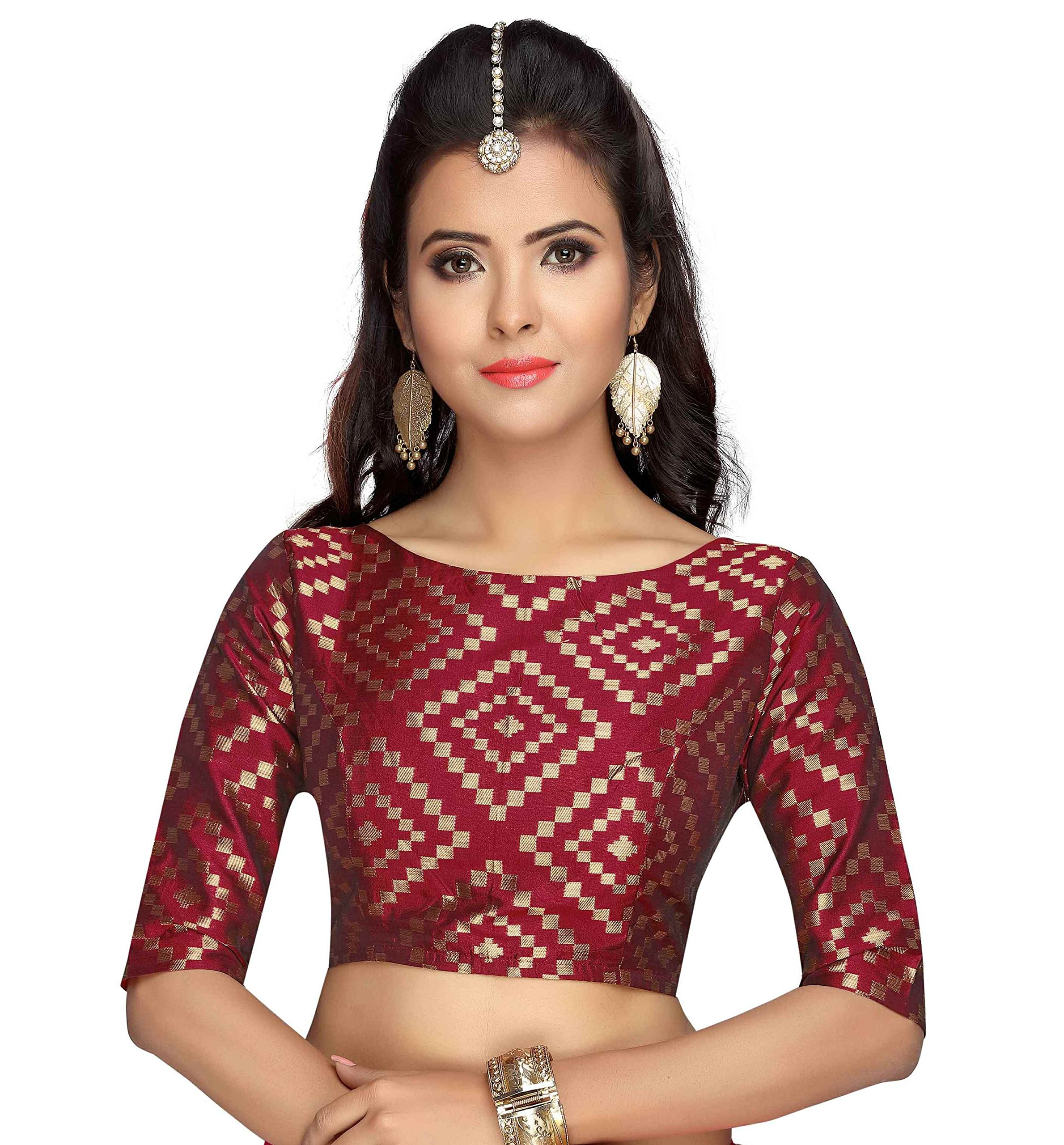 d2578a79833 Studio Shringaar Women's Brocade & Georgette Back Button Elbow Length  Sleeves Readymade Blouse product image