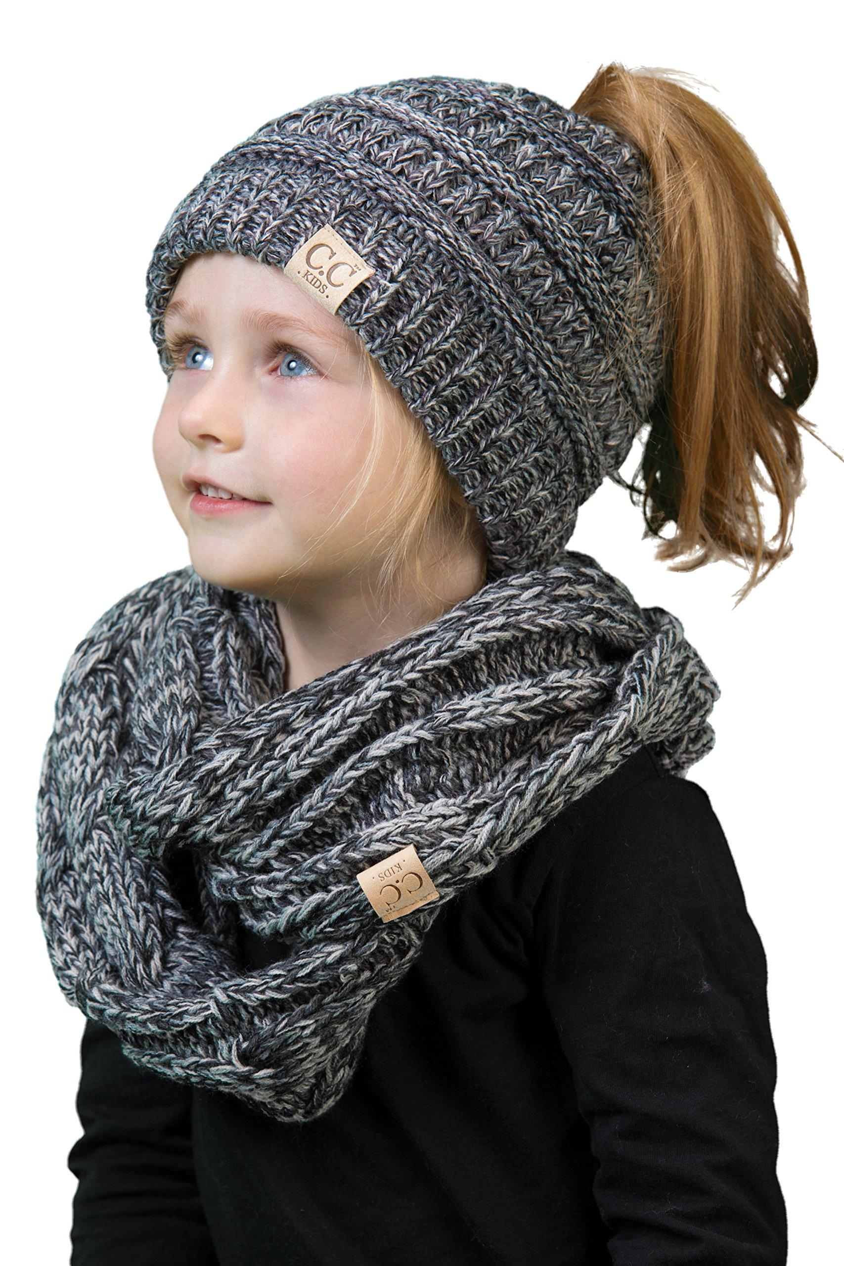 K1-BT2-816.21 Kids Scarf & Beanie Tail Matching Bundle Set- Grey/Black 4#31