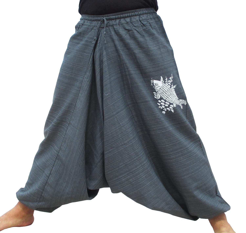 RaanPahMuang Striped Cotton Elastic Pullstring Waist Pants Carp Fish Woodblock Print
