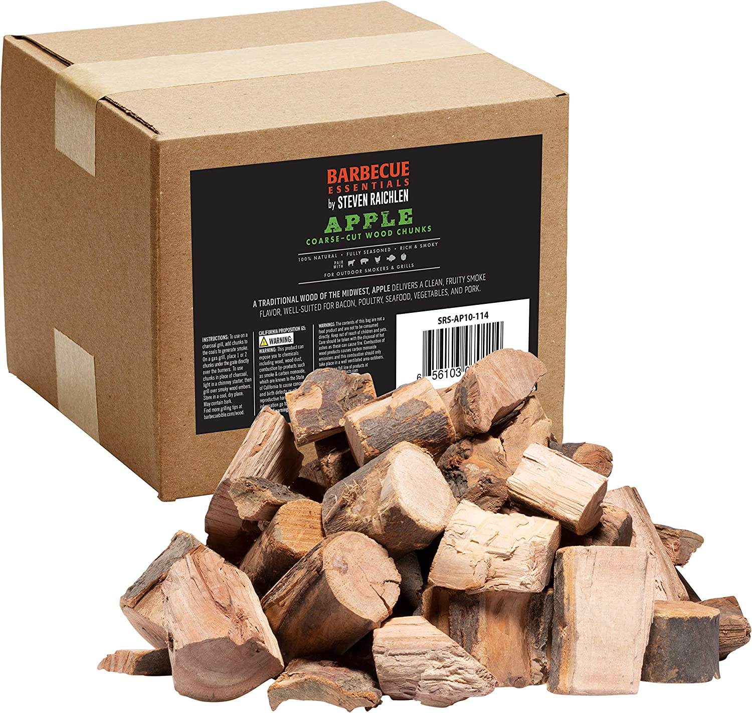 Smoking Wood Chunks (Apple)- 840 cu. in. (0.013m³) Kiln Dried BBQ Large Cut Chips- 100% All Natural Barbecue Smoker Chunks- 10lb Box