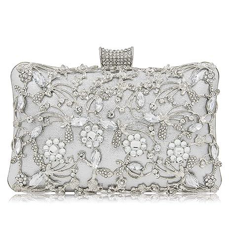 De Las Mujeres Metal Flor Diamantes de imitación Noche Bolso,Bolsos de Embrague impresión Calada