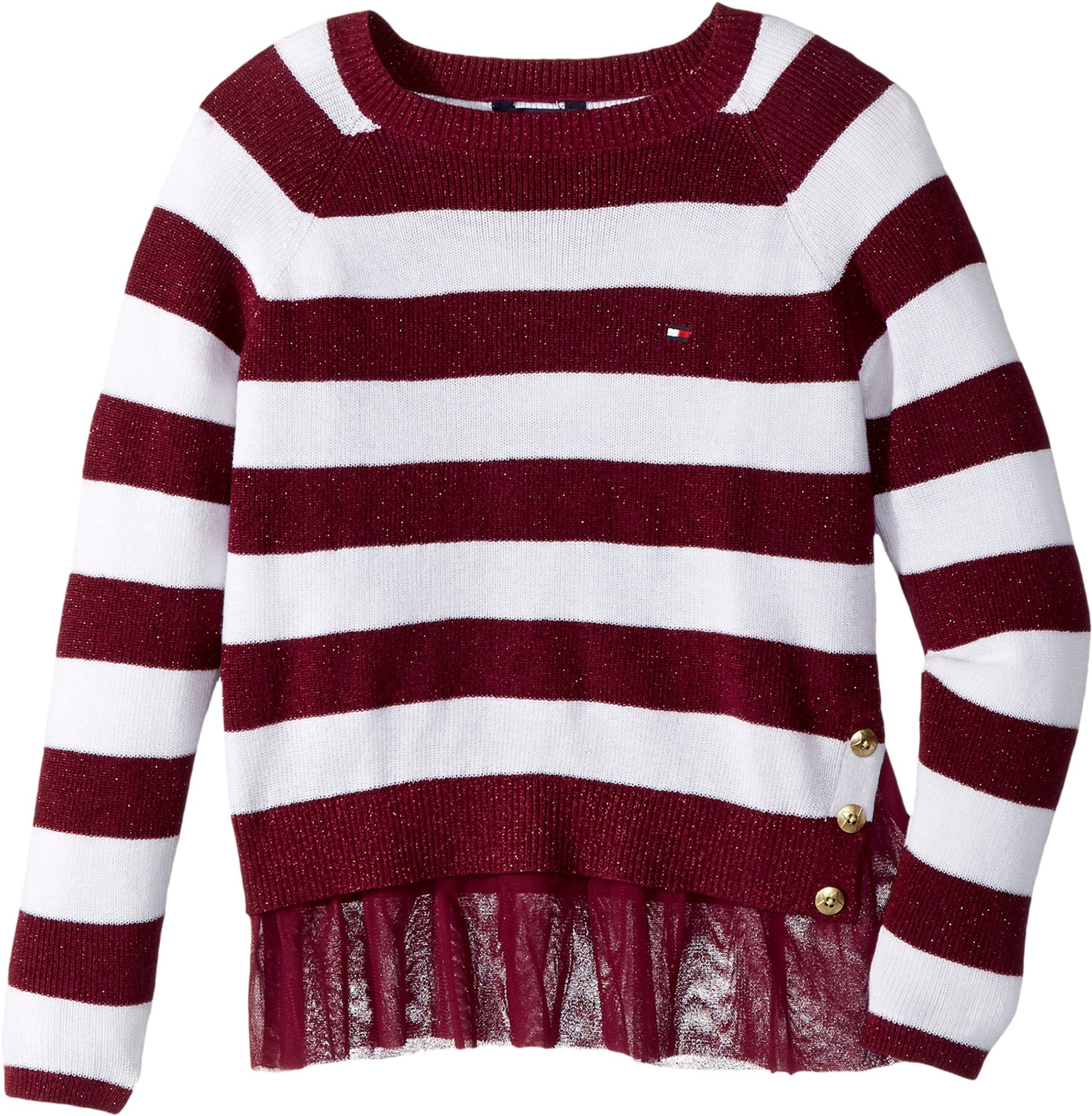 Tommy Hilfiger Big Girls' Pullover Fashion Sweater, Cranberry Jewel, Large