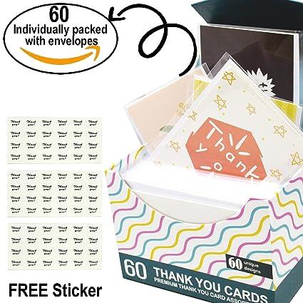 Amazon Com Thank You Cards 60 Unique Designs Assortment Blank