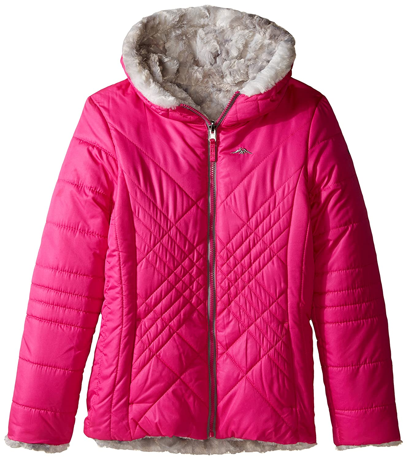 Pacific Trail Girls' Big Reversible Quilted Jacket to Tye Die Faux Fur 2F60363