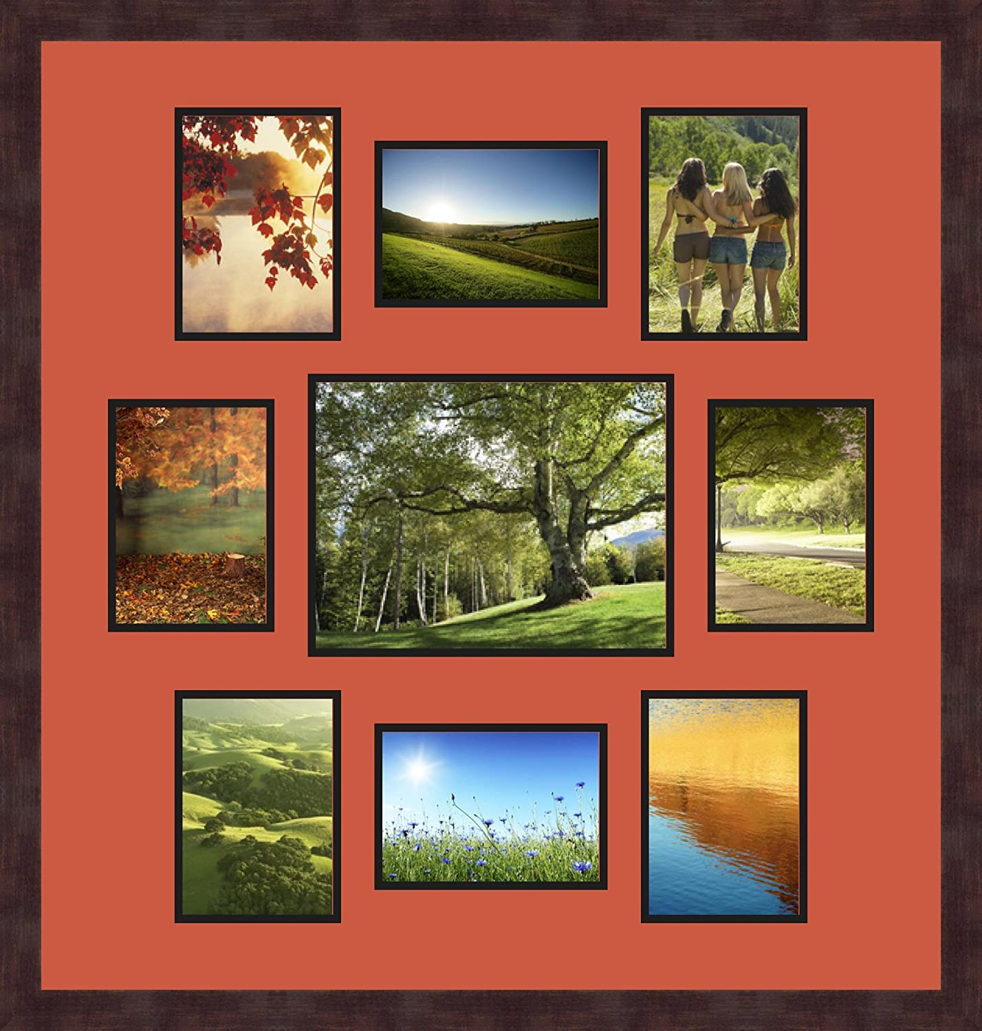 Art to Frames Double-Multimat-1114-693//89-FRBW26061 Collage Frame Photo Mat Double Mat with 8-5x7 and 1-8.5x11 Openings and Espresso Frame