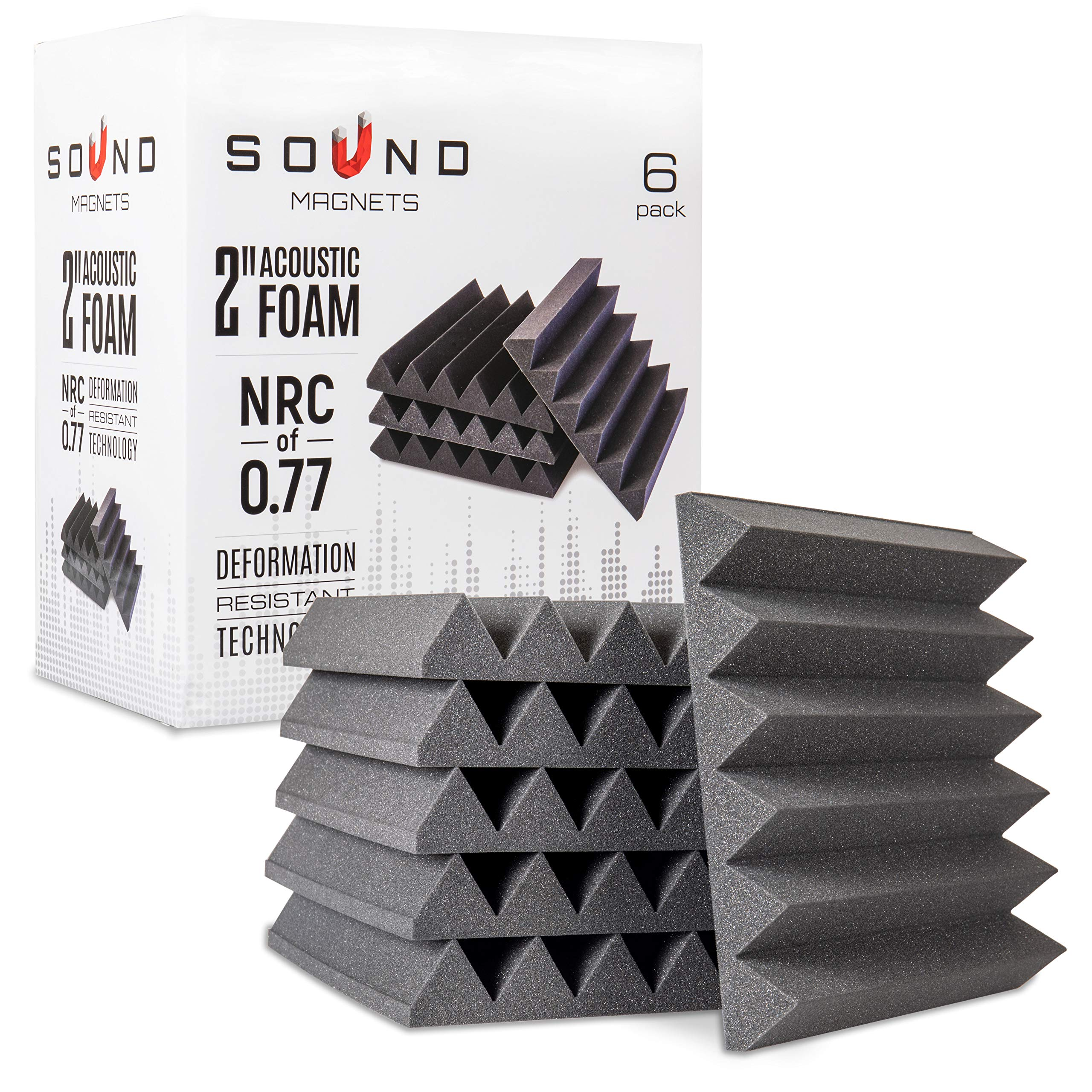 6 Pack of 2 Inch Acoustic foam Panels- Premium High Density Fireproof Studio Foam Tiles Made From Non-Toxic Materials 2'' X 12'' X 12'' by SoundMagnets