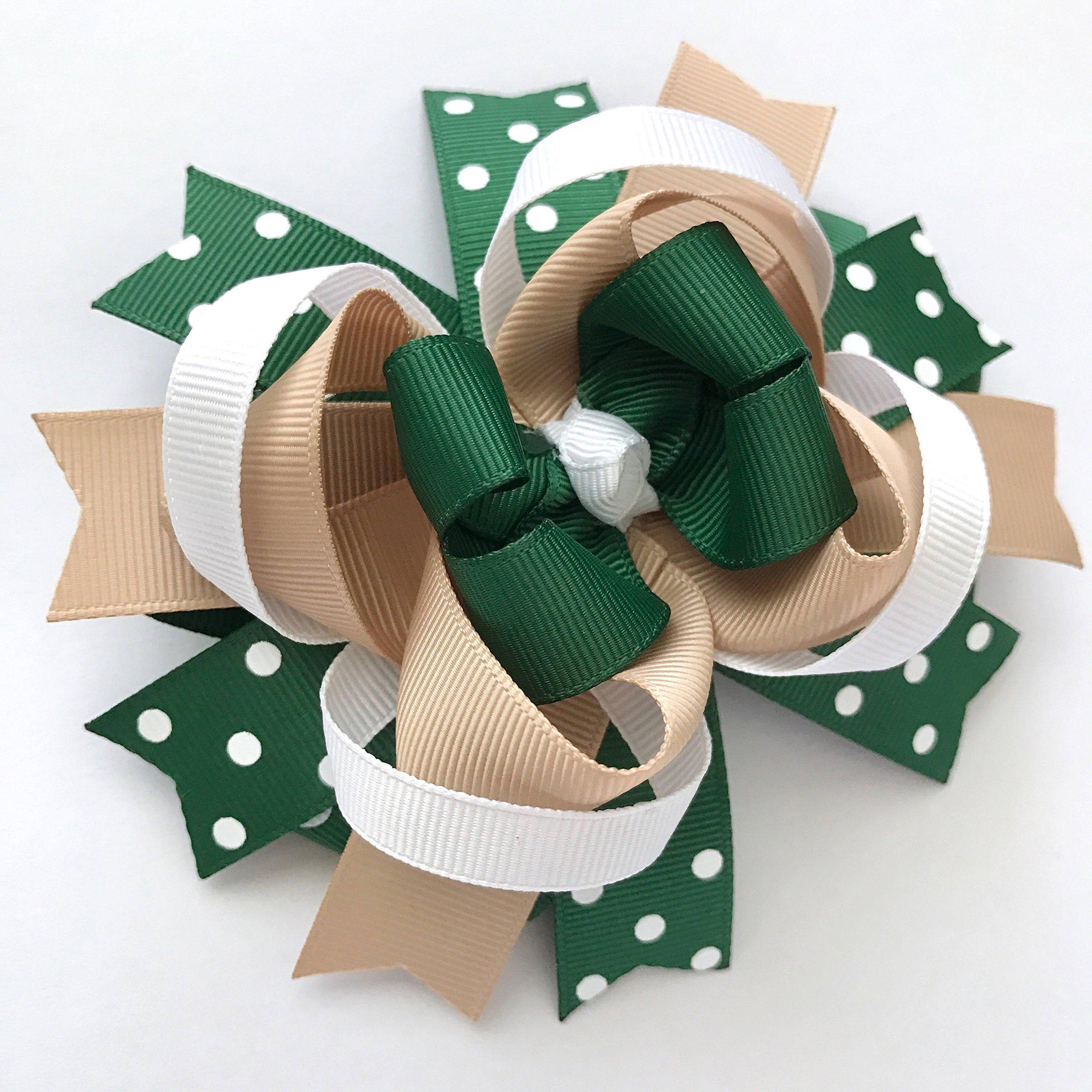 School Uniform Khaki Tan Hunter Green White Hair Bow, Handmade Private School Hair Clip, Back To School Hair Bow