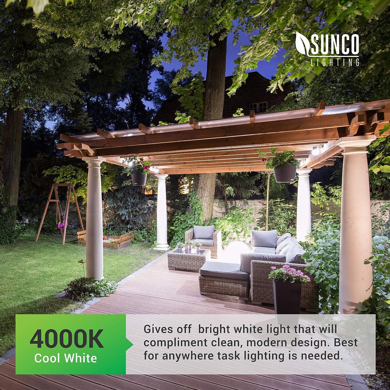 800 LM 9W=60W Sunco Lighting 4 Pack A19 LED Bulb with Dusk-to-Dawn Auto On//Off Photocell Sensor 3000K Warm White UL