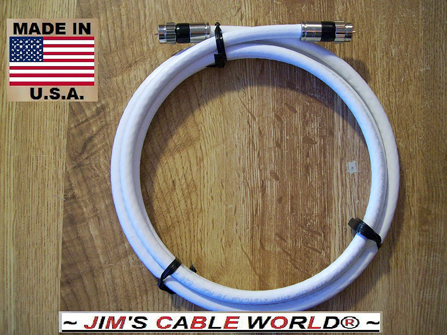 Amazon.com: JIMS CABLE WORLD (2 Ft) White Digital HD Quality 75 Ohm RG~6 Tri-Shield Coaxial (Coax) Cable Hand Crafted And Made In The USA: Home Audio & ...