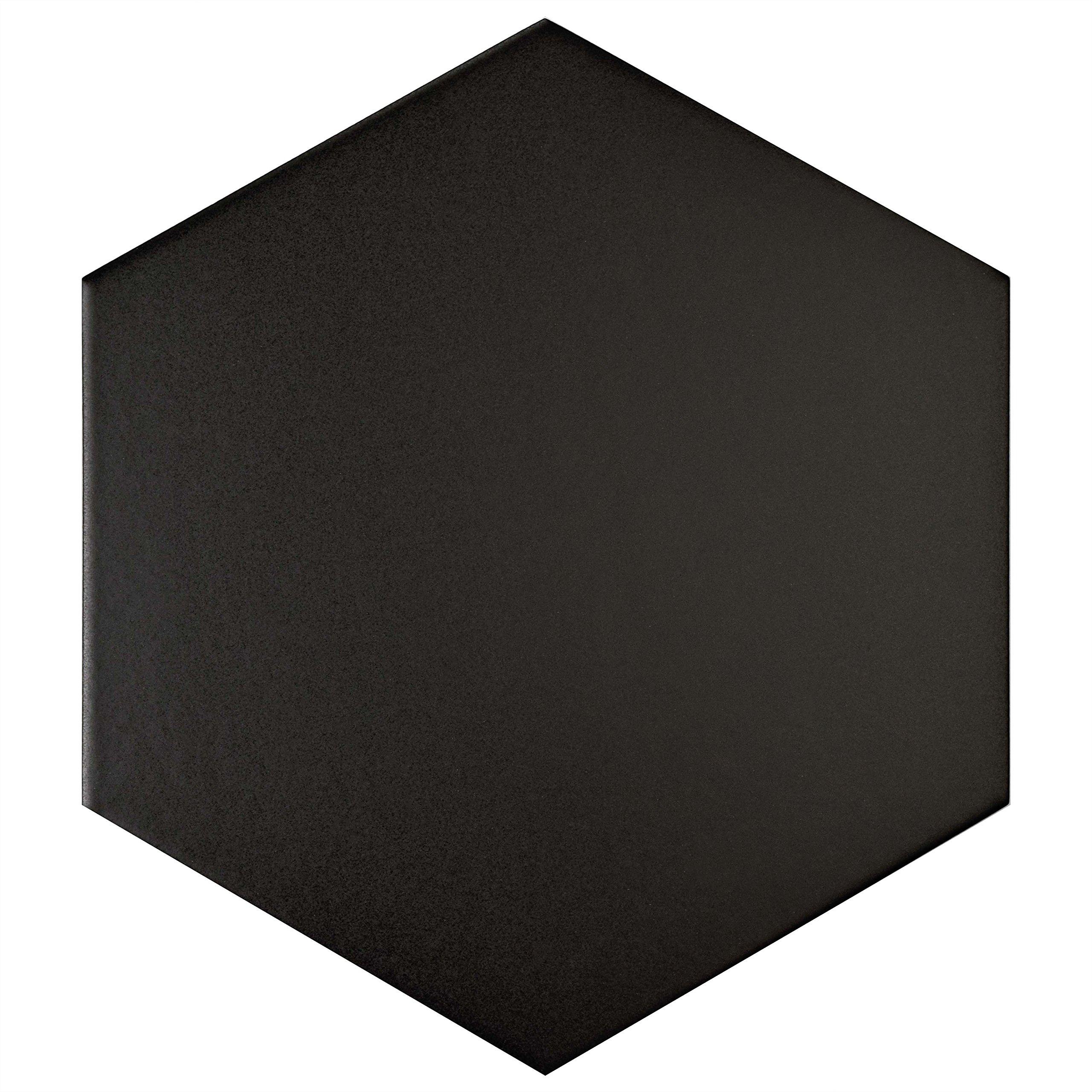 SomerTile FCD10BTX Abrique Hex Porcelain Floor and Wall Tile, 8.625'' x 9.875'', Black