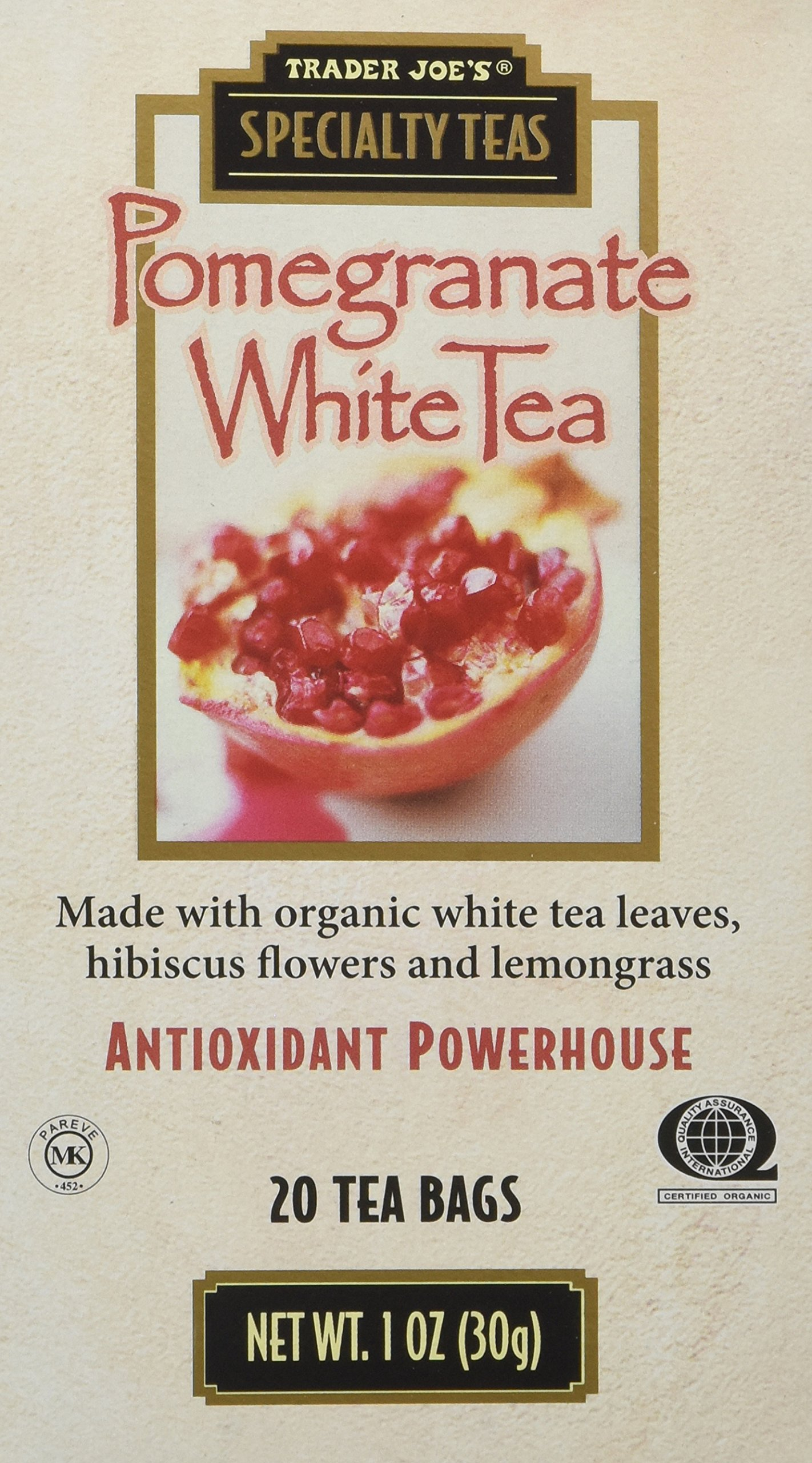 Trader Joe's Pomegranate White Tea, 20 Tea Bags (Pack of 4)