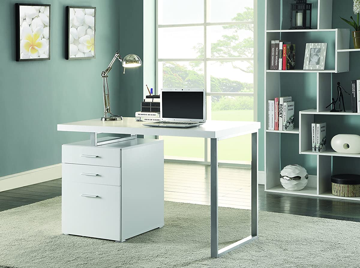 Coaster Home Furnishings Modern Contemporary Office Desk with File Cabinet - White