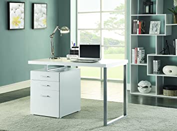 Coaster Home Furnishings Modern Contemporary Office Desk With File Cabinet    White