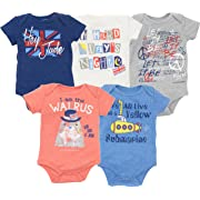 The Beatles Lyrics Infant Baby Boys' 5 Pack Bodysuits Blue, Red, White, Navy, Grey (0-3 Months)