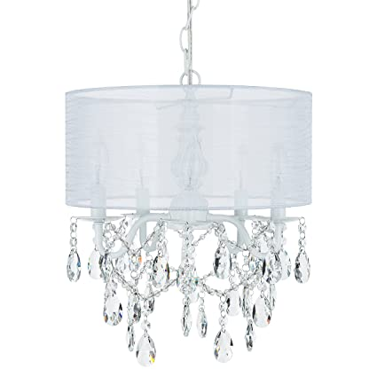 Luna White 5 Light Crystal Chandelier with Drum Shade, Glass Beaded ...