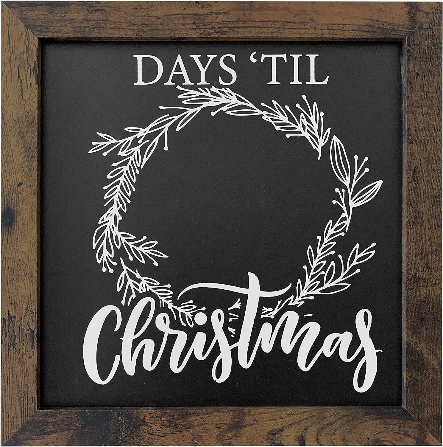 "12 x 12 Rustic Framed ""Days Until Christmas"" Countdown Chalkboard - Magnetic Surface - Works great with Chalk Markers and Chalk Sticks - Printed artwork- Perfect for Rustic Christmas Decor"