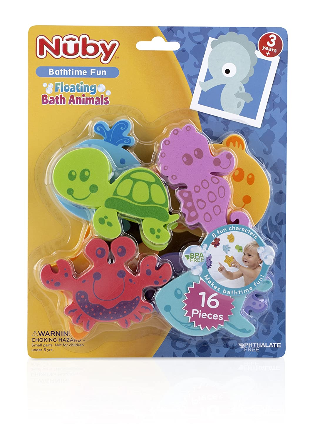 Amazon.com : Nuby 16-Piece Floating Foam Bath Animals Set : Bathtub ...