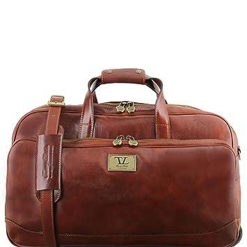 Tuscany Leather Samoa Sac à roulettes en cuir - Petit modèle Marron JSN2yaa
