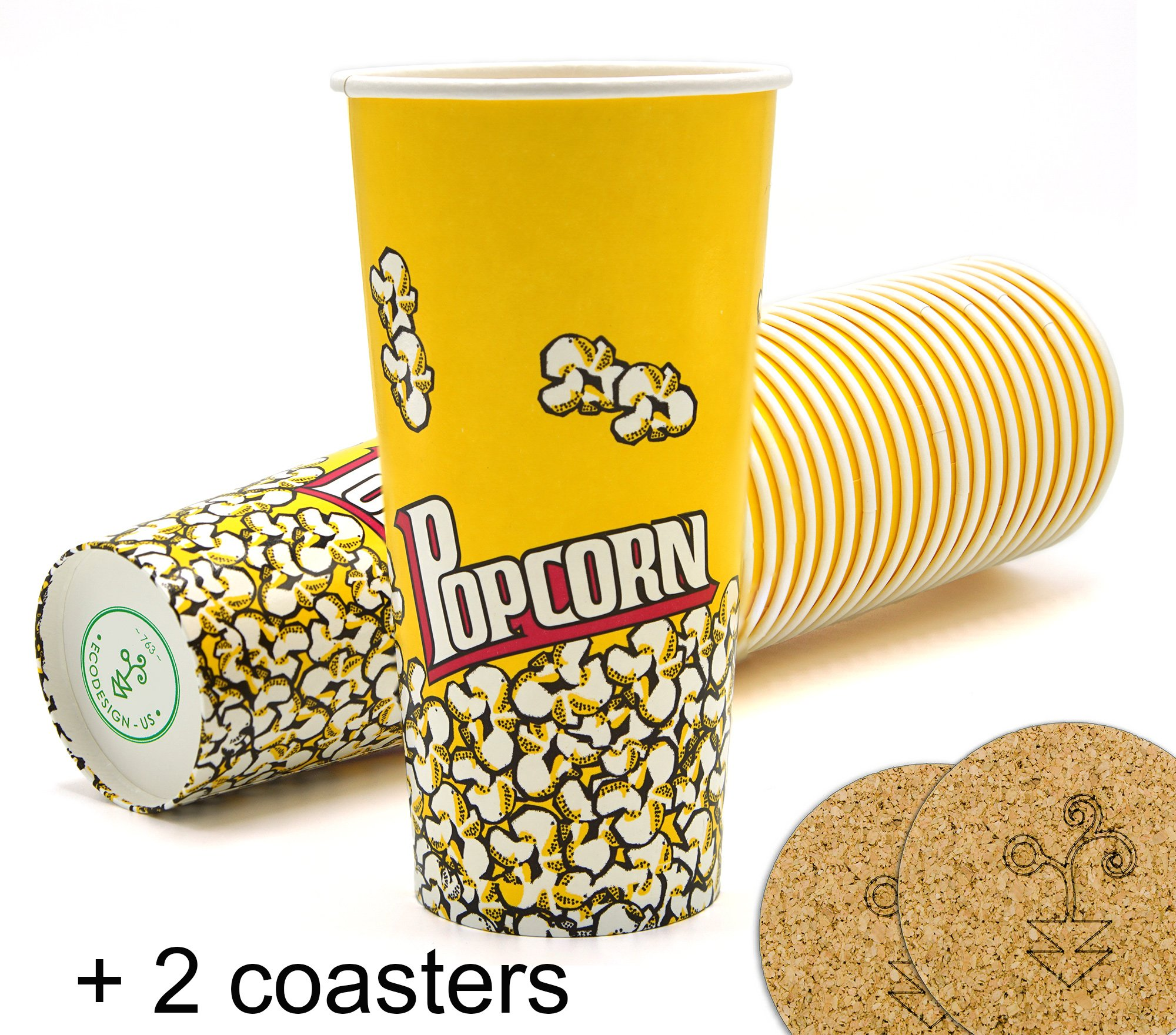 Yellow Red Popcorn Snack Bucket Cups 24 oz. - Pack of 22