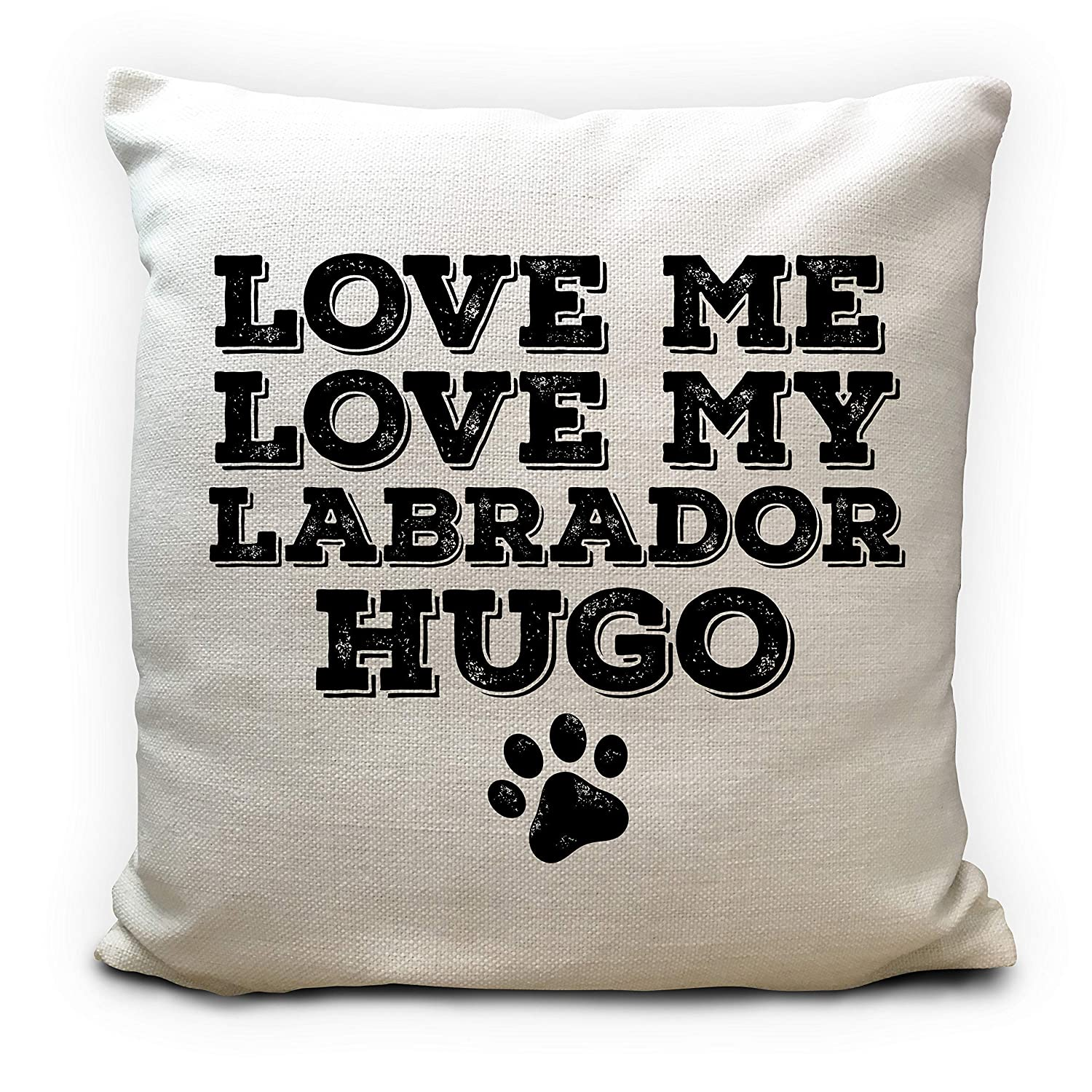 Personalised Dog Bed Cushion Cover Gift, Pillow Cover, Pet Breed and Name strong, Love Me Love my Dog 40cm 16 inches