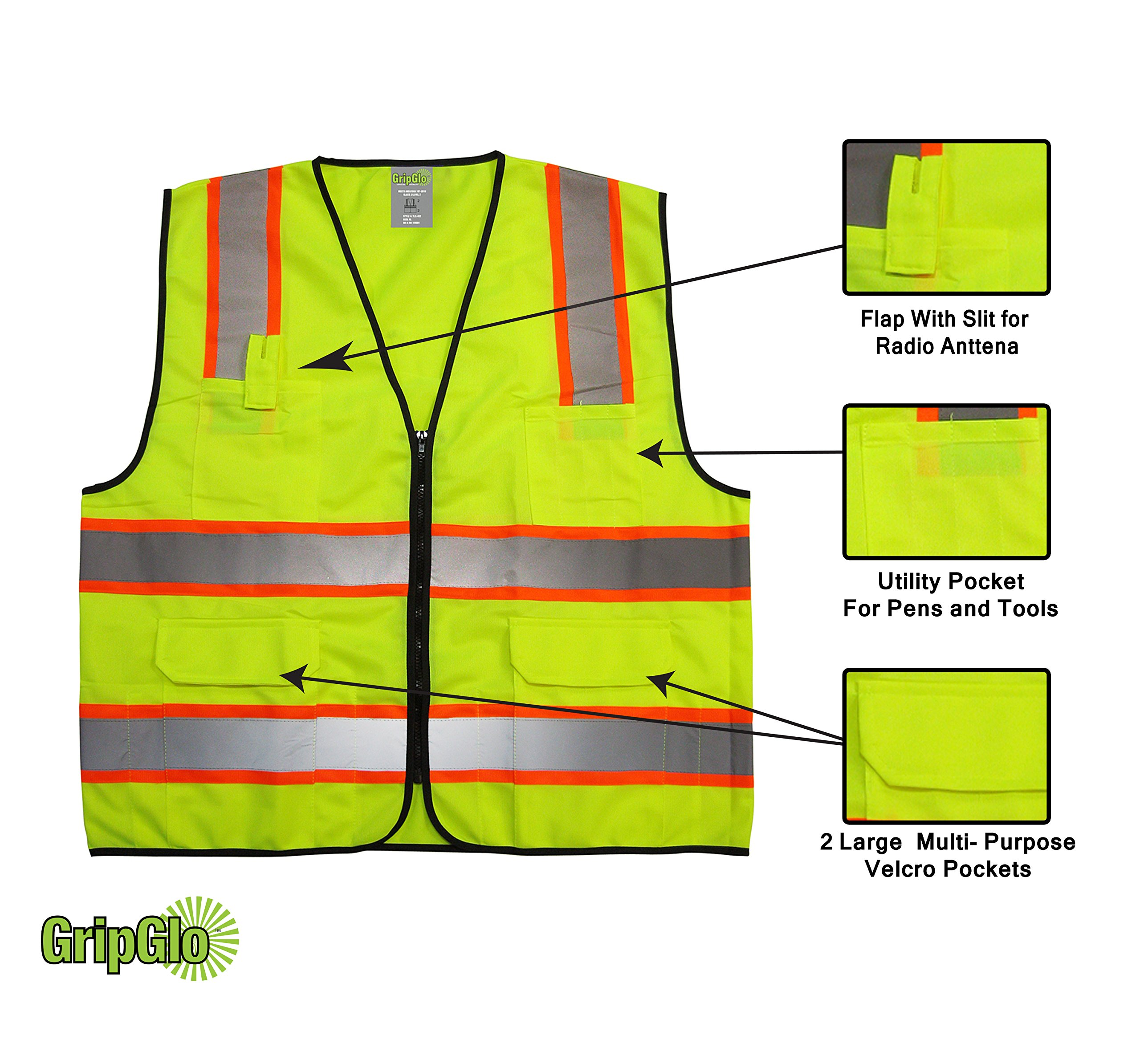 GripGlo TLS-432 Amazing High Visibility Reflective Safety Vest With 6 Multi-Functional Pockets Neon Lime Zipper Front, 2'' Reflective Strips With ORANGE TRIM For MAXIMUM VISIBILITY - Meets ANSI/ISEA 107-2010 - Class 2/Level 2 - Large by GripGlo™ (Image #3)