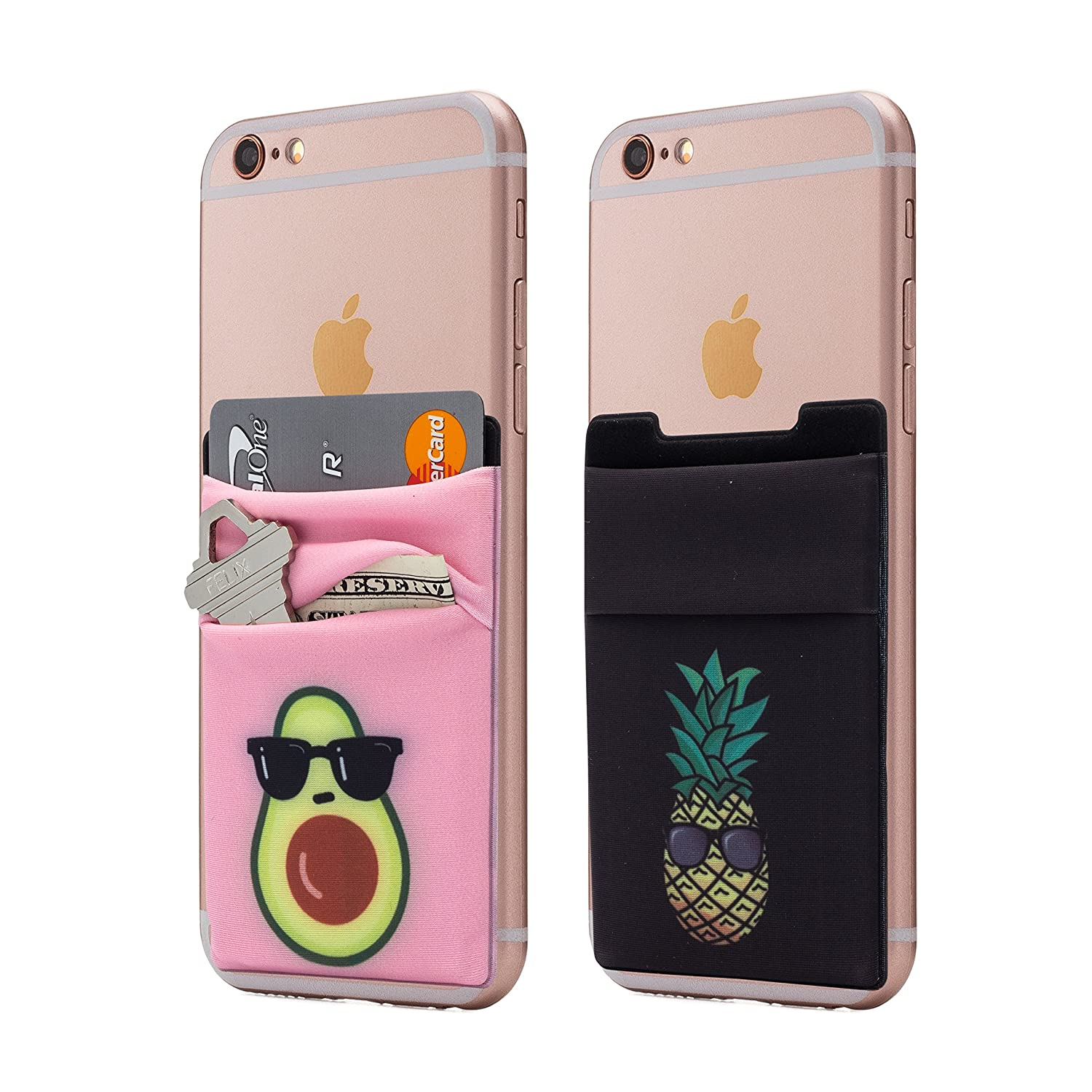 (Two) Stretchy Cell Phone Stick On Wallet Card Holder Phone Pocket For iPhone, Android and all smartphones. (avopine) Cardly