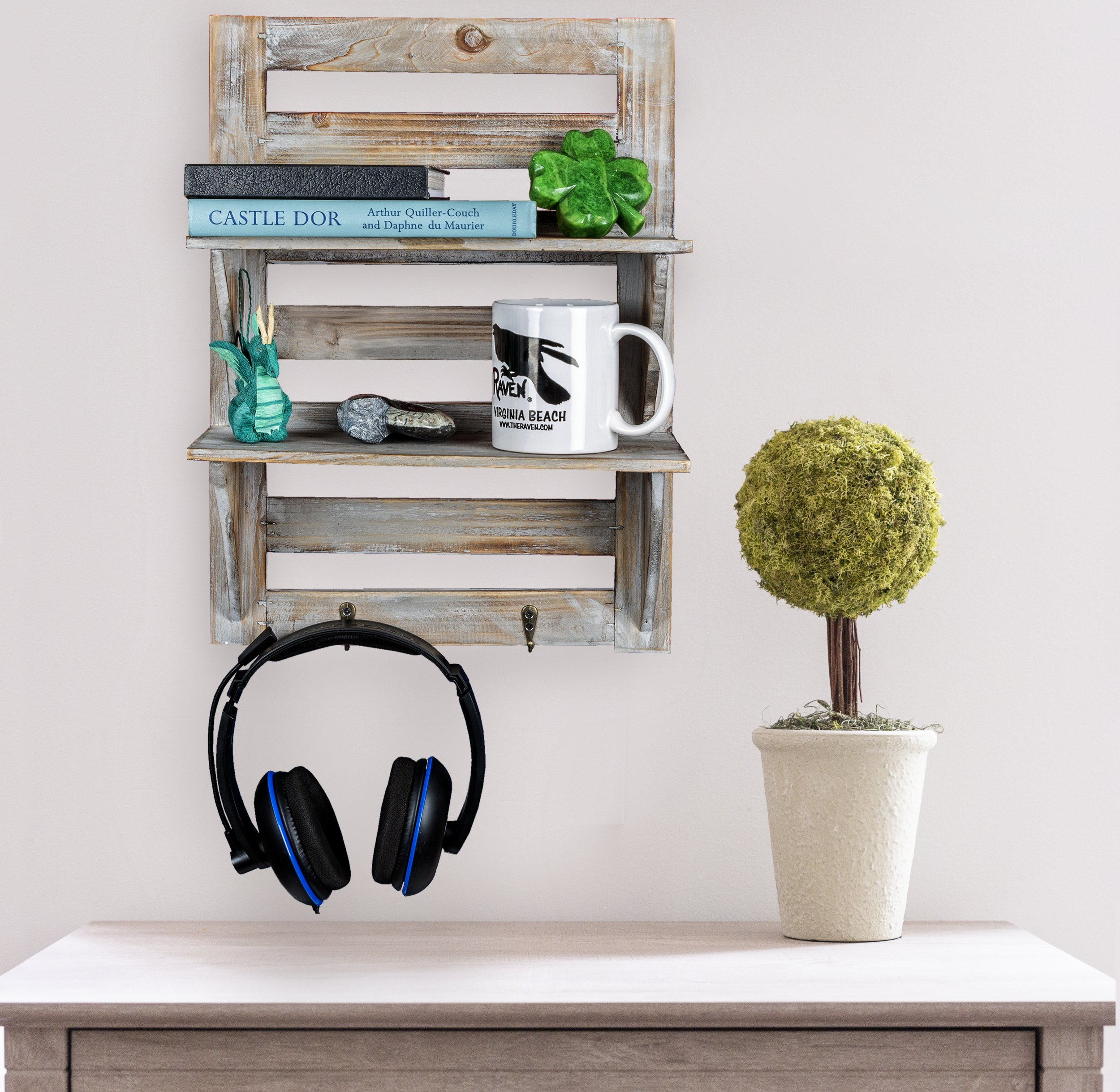 """Besti Rustic Wall Shelves w/Hanging Hooks - Dual Shelving Wall-Mounted Organizer - 2 Tier Storage Rack Brown - Cute Rustic Organizers - Home Decorative Furniture - Farmhouse Wall Shelving - Crafted with natural wood, our shelves feature two shelf levels for displaying pictures, small flower pots, bedroom decor, or cute decorations. Rustic, Vintage Home Style - Ideal for decorating your living room, kitchen, bathroom, or personal space, they match your other furniture or furniture perfectly. Natural Wood Craftsmanship - This wooden wall-mounted organizer is made with high-quality wood, wide shelves, and is an easy-to-hang size at 17.5"""" x 12.5"""" x 5.5"""". - wall-shelves, living-room-furniture, living-room - 91MwFB3R6vL -"""