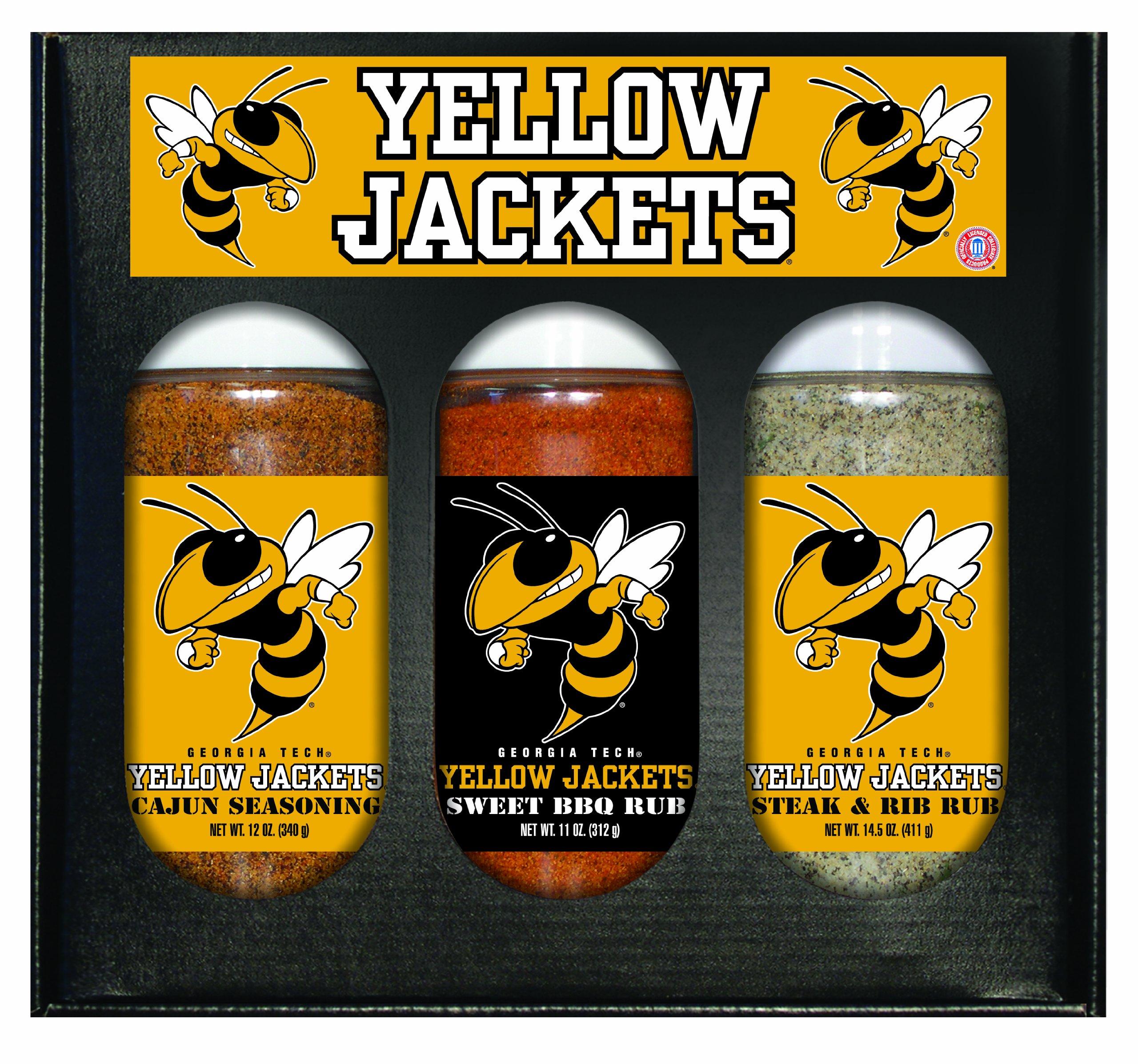 8 Pack GEORGIA TECH Yellow Jackets Boxed Set of 3 (Cajun Seas,Stk/Rib Rub, BBQ Rub)