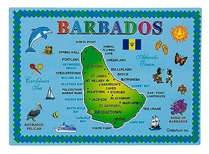 Amazon.com: Barbados Island Map Metal Souvenir Magnet ...