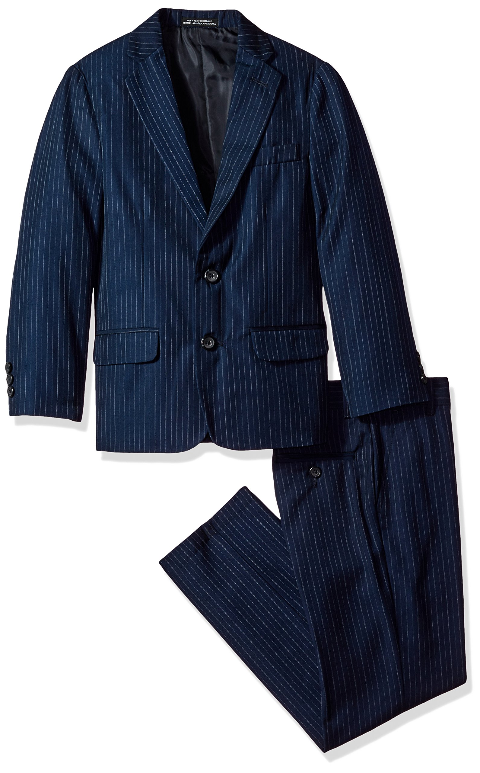 Van Heusen Big Boys' Bold Twill Stripe 2 Pc Suit, Navy, 12