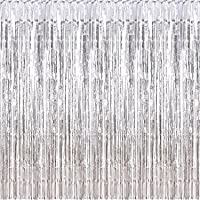 Sumind 10 Packs Foil Curtains Tinsel Curtains Photo Booth Backdrops for New Year's Christmas Party Decorations Disco…