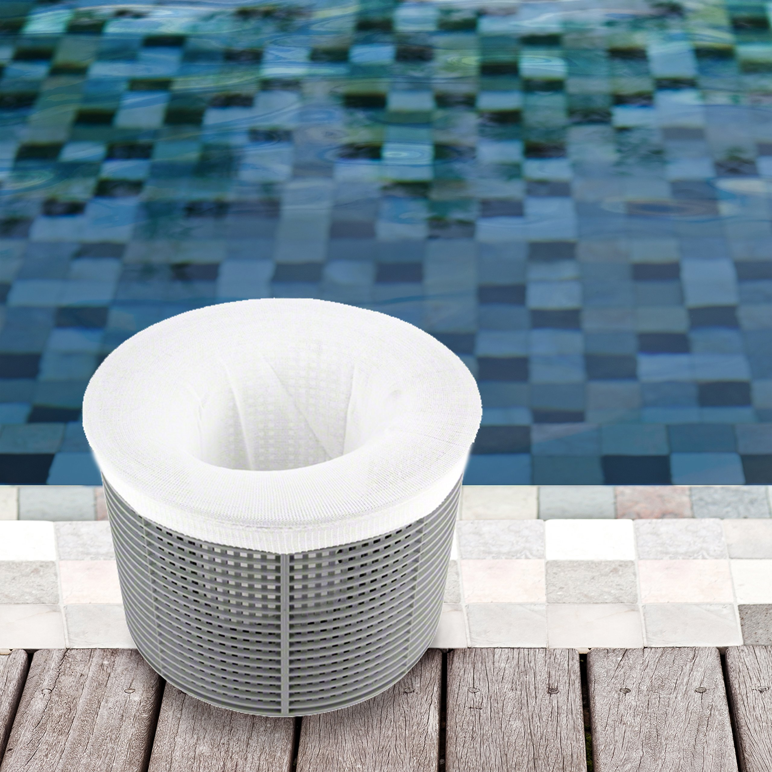 California Home Goods 20-Piece Swimming Pool Skimmer Socks Pack. Filter Savers for Baskets and Skimmers. Reusable Swimming Pool Filter Net. Fine Mesh Filter Screen Sock Liners.