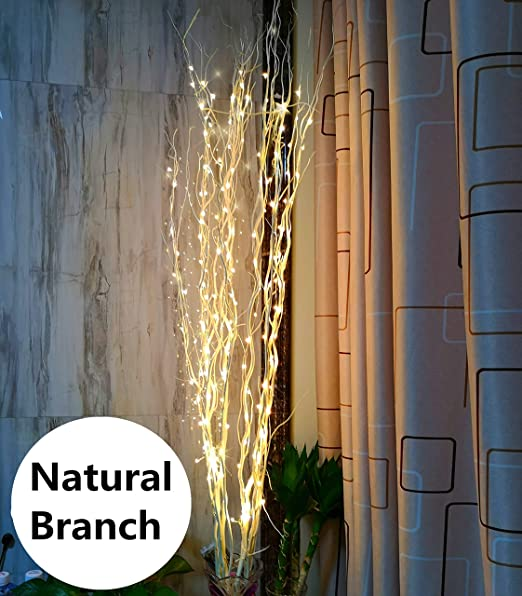 1 ZJ RIGHT R 51Inch LED Natural Willow Twig Lighted Branch for Christmas  Wedding Party Home Decoration Battery Powered DIY