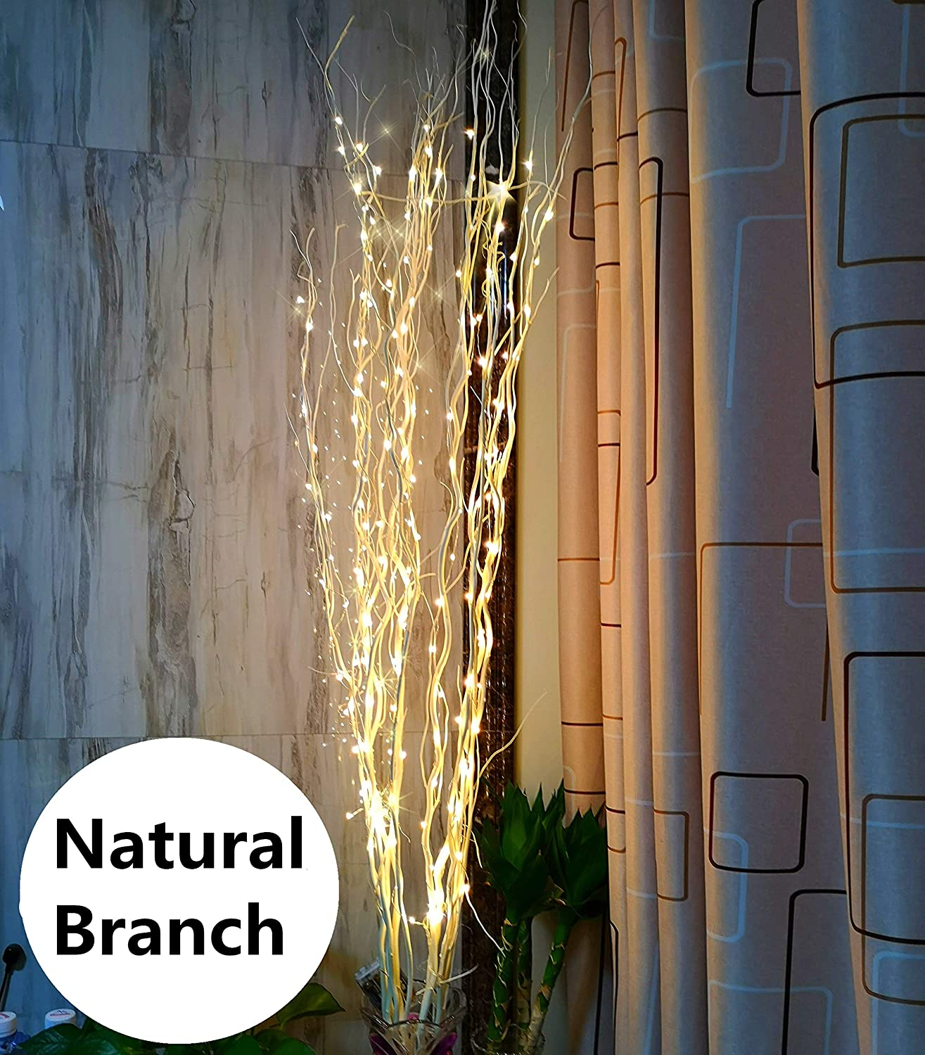 51Inch LED Natural Willow Twig Lighted Branch for Christmas Wedding Party  Home Decoration Battery Powered DIY (Warm White)
