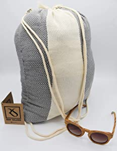 Ray Silver (Backpack Turkish Towel 100% Cotton Peshtemal Towel 71x40(100x180cm) Thin Light Weight Travel Camping Bath Beach Gym Pool Blanket Home Decor QuickDryTowels (Grey, Fish Circus)