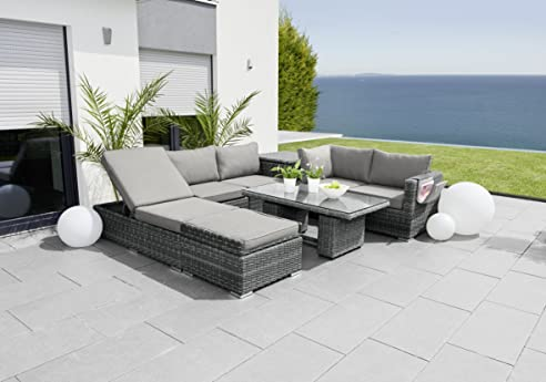 Rattan lounge anthrazit  Amazon.de: greemotion Rattan-Lounge Bari in Anthrazit, Gartenmöbel ...